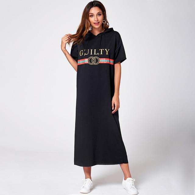 Black Hooded Casual Fashion Dress