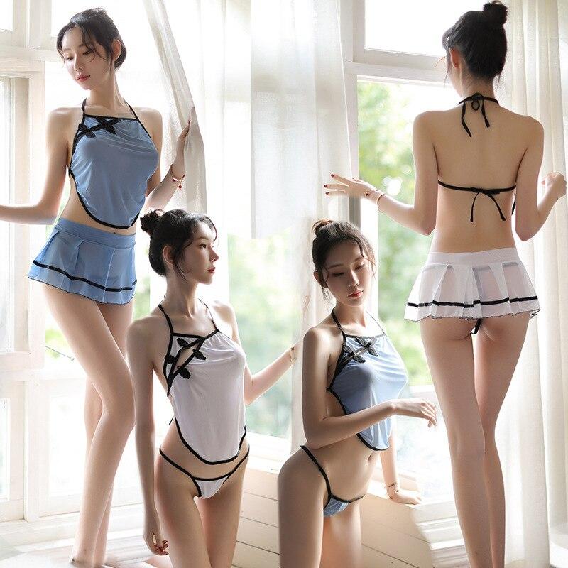 Женское нижнее белье, сексуальный эротический комплект из 3 предметов, укороченный топ + трусики-стринги + Короткие мини юбки, комплект Babydoll