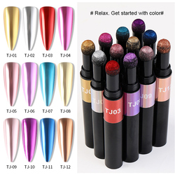 12 Colors Nail Art Air Cushion Magic Metallic Luster Mirror Solid Powder Pen Nail Shiny Aurora Glitter Cushion Pen TSLM1