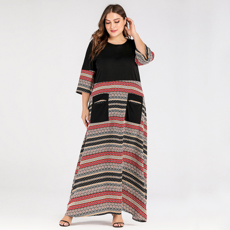 Siskakia Plus Size Dress Ethnic Casual Colored Stripe Patchwork Long Dress O Neck 3/4 Sleeve Patch Pockets Design Women Clothes