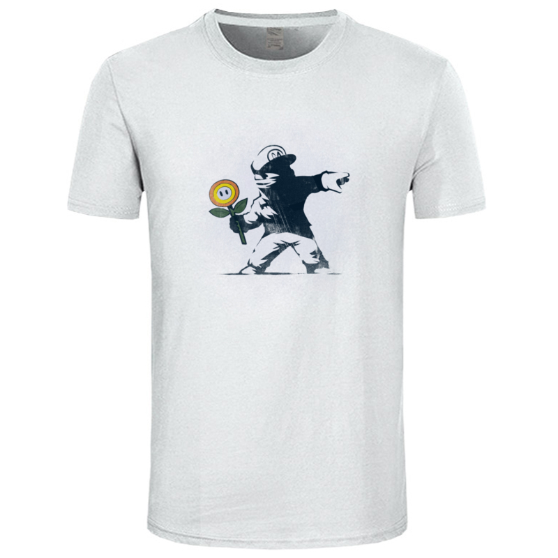 Graffiti_Flower_8179 100% Cotton Tshirts for Men Short Sleeve Tops Shirt Fashionable Summer Autumn Crew Neck T-Shirt Street Graffiti_Flower_8179 white