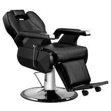 PVC Leather Classic Hydraulic Recline Hair Salon Iron Leather Sponge Barber Hairdressing   Chair Black/Red Color
