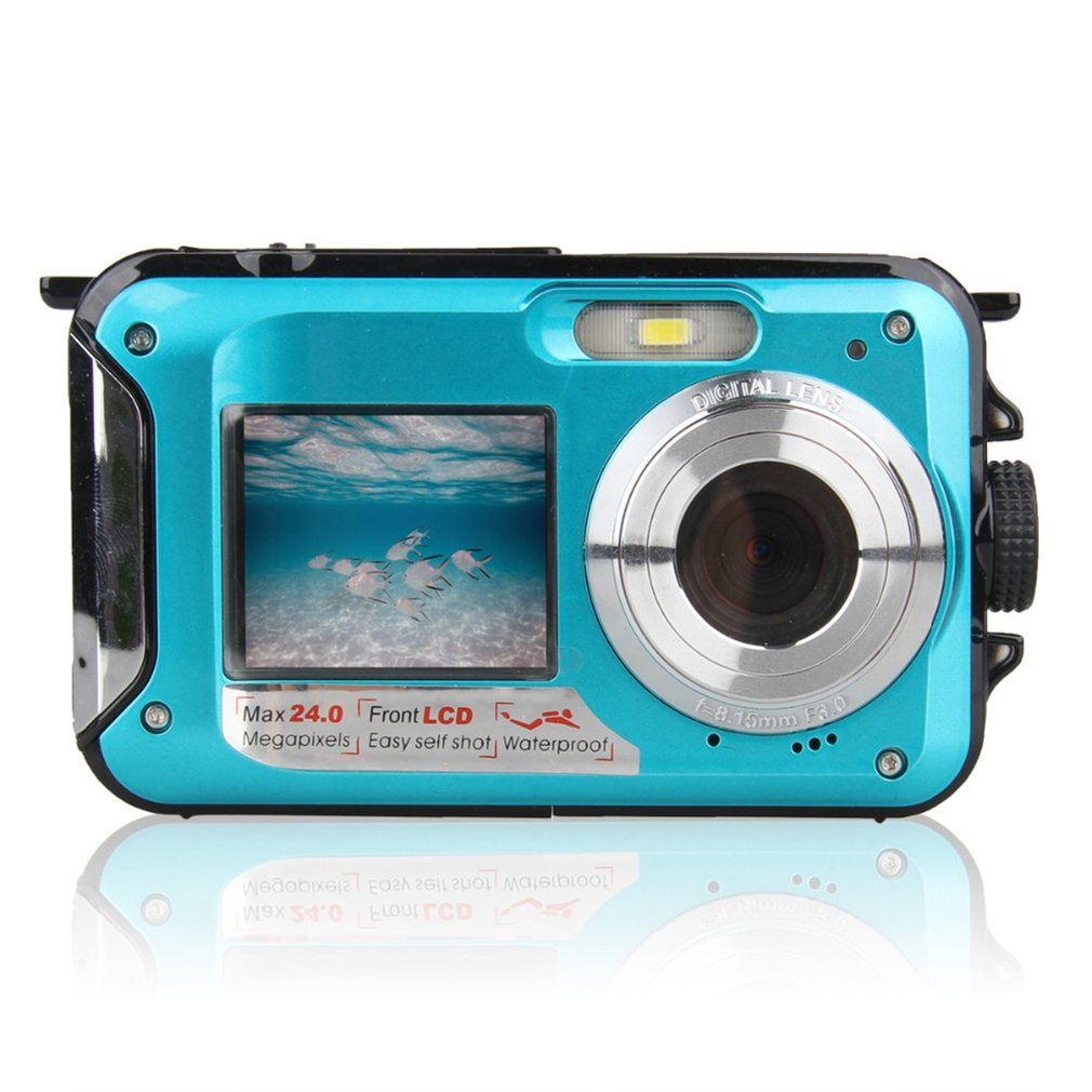 Double écran caméra sous-marine HD étanche Photo prise de vue enregistrement vidéo sport plongée LED Flash caméra vidéo numérique