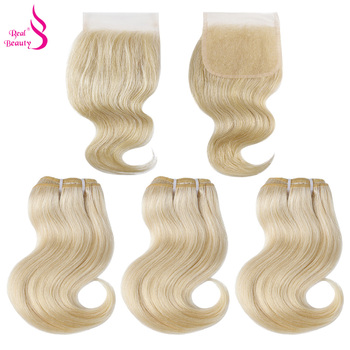 Real Beauty 3 Bundles Brazilian Body Wave Hair Weave With Lace Closure Black Honey Blonde Remy Human Hair With Closure 50G image
