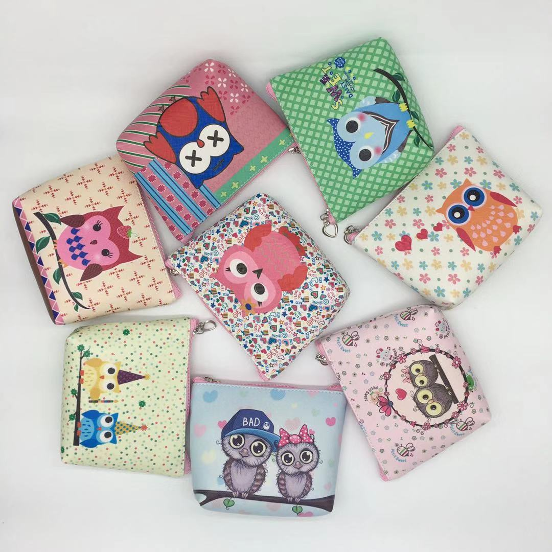 4 Colors Mini Handbag Key Bag Cartoon Owl Women Cute PU Coin Purse Girl Wallet Cute Portable Suitable For Anyoccasions
