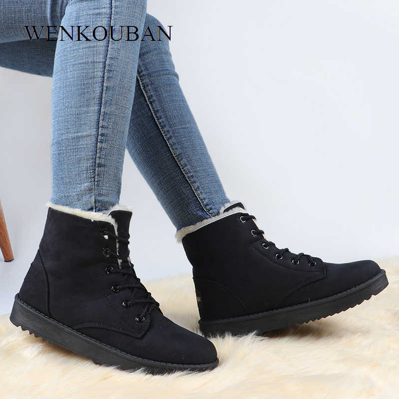 Kışlık botlar kadın sıcak peluş ayakkabı moda bayanlar yarım çizmeler platformu kar botları kadın kürk ayakkabı astarı Botines Mujer 2019