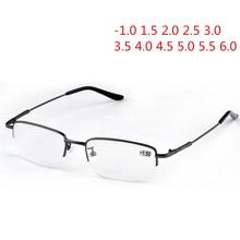 Nywooh terminou miopia óculos homens meia armação de metal estudante óculos de visão curta ultraleve-1.0 a-6.0