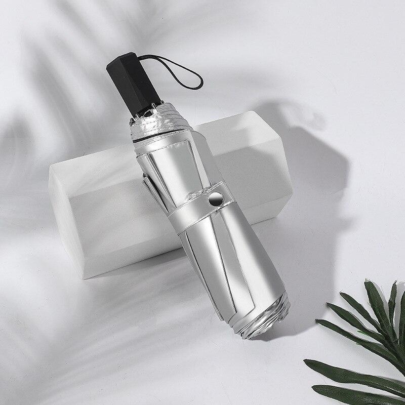 UPF50 + New Style Double Layer Titanium Silver Parasol UV-Protection Parasol Foldable Rain Or Shine Dual Purpose Vinyl Parasol