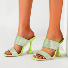Summer Shoes Sandals Peep-toe Snake-like Slippers Women's Shoes Solid Square Head Sequins High-heel Ladies Slip-on Femme Green