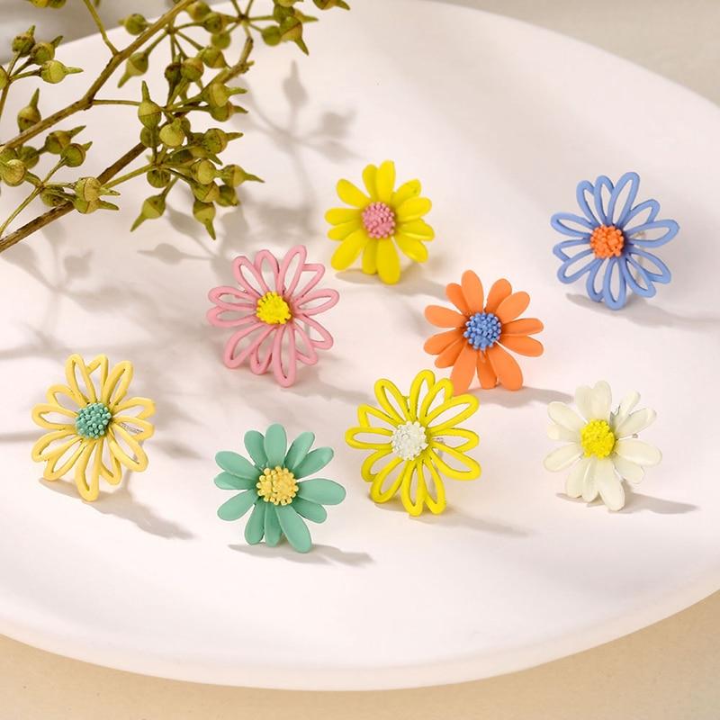 17IF Trendy Flower Stud Earrings For Women Sunflower Ear Rings Statement Geometric Fashion 2020 Earings Women Accessories