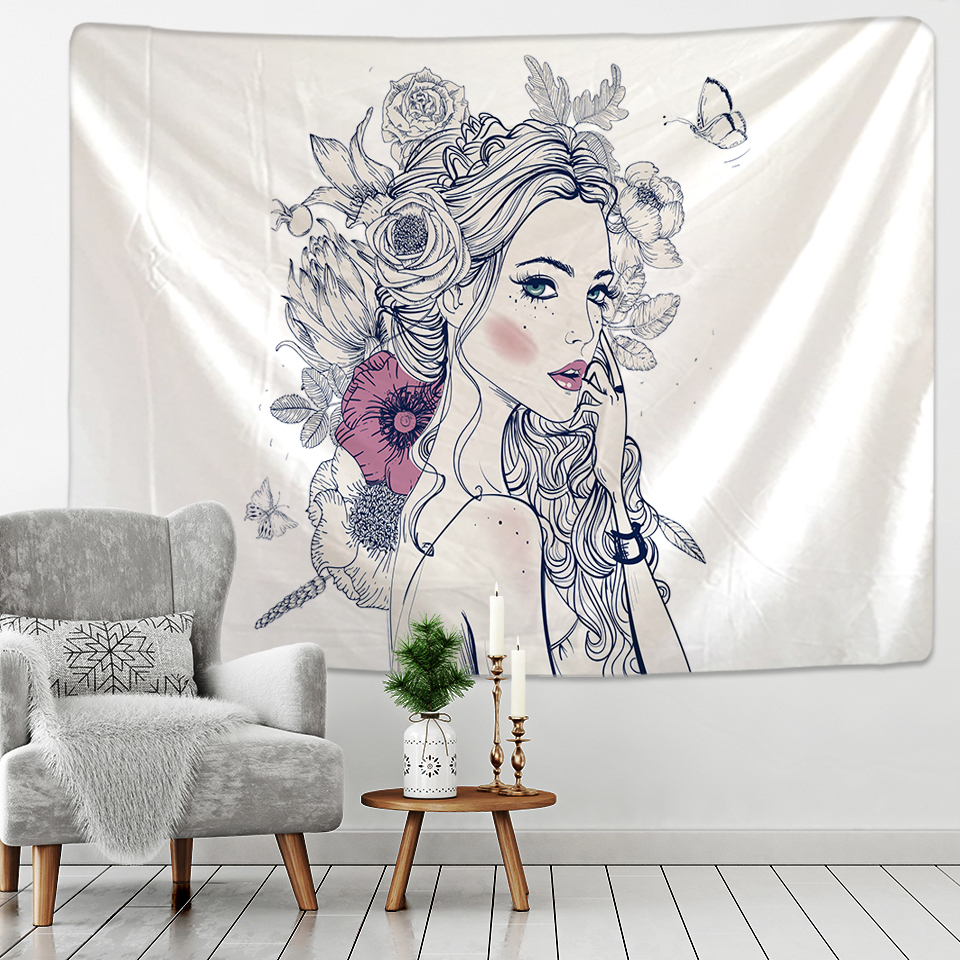 Nordic simple Tapestry Hippie Girl Wall hanging cloth Coffee bedroom Tapestry Mandala Fabric Boho Wall Cloth Tapestry
