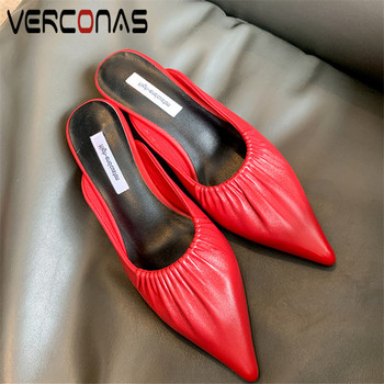 VERCONAS  2020 Fashion Mules Woman Sandals Woman Pumps Brand Design Genuine Leather Summer Pointed Toe Thin Heeled Shoes Woman