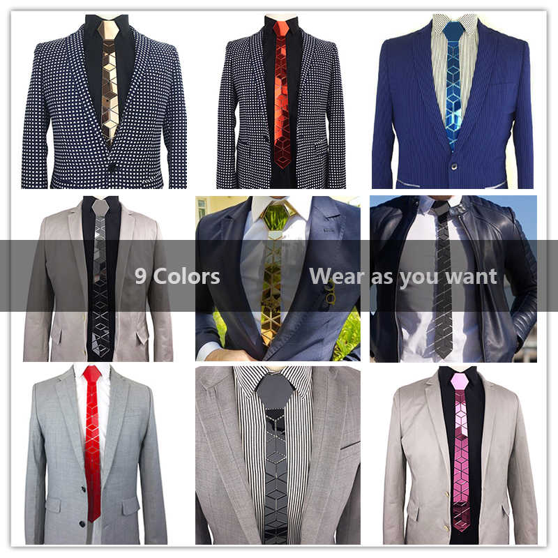 Bling Blue Neckties Floral Pattern Mirror Skinny Ties Luxury Fashion Accessories Wedding Groom Necktie Blue Causal Style