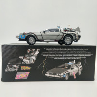 Limited Edition 1/18 Alloy Car Diecast Model Part 3 Time Machine DeLorean Vehicle Metal Toys Back To The Future Gifts Souvenir