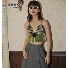 CHEERART 2020 Designer Bralette Crop Top Women Cropped Cami Top Polka Dot PU Leather Peplum Green Bustier Top Fashion