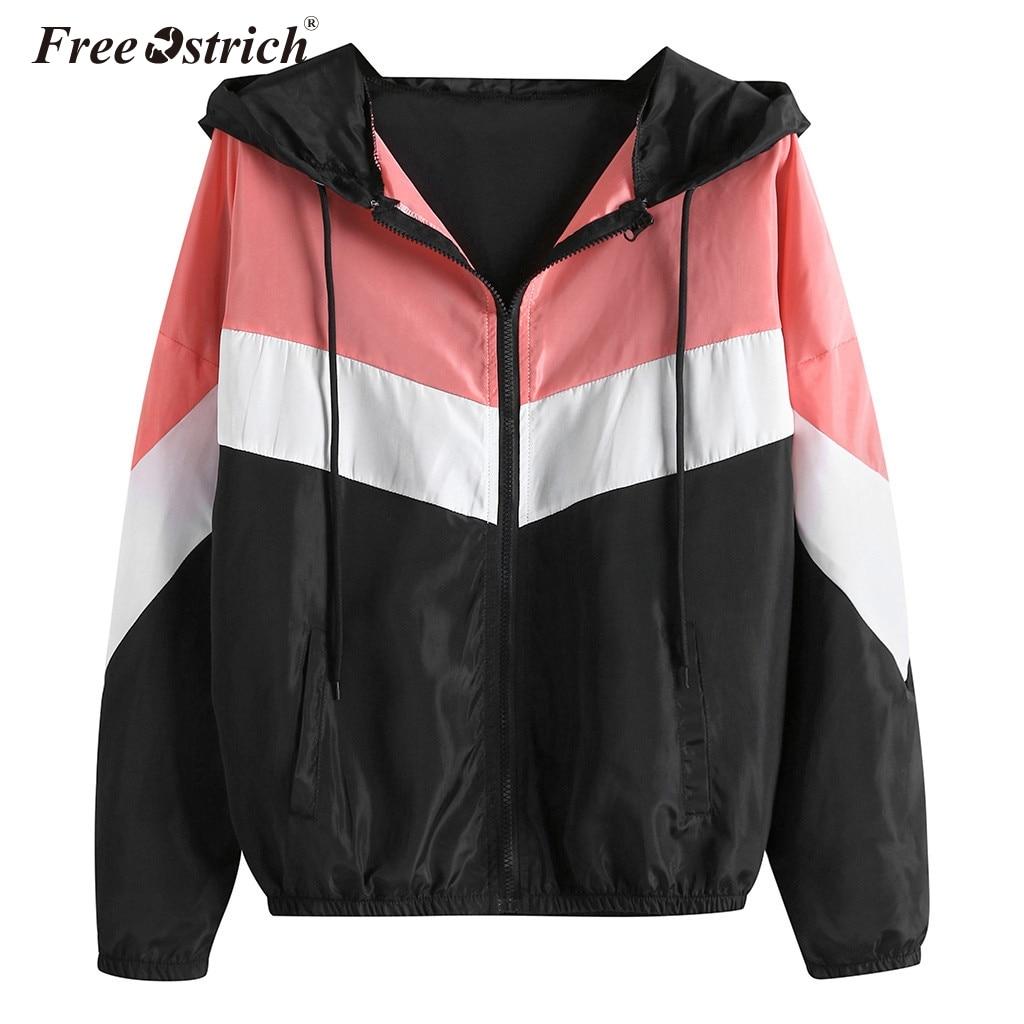 Free Ostrich Autumn Windbreaker   Jacket   Women Rainbow Color Zipper Pockets Coats Casual Long Sleeves Feminino   Basic     Jackets   N30