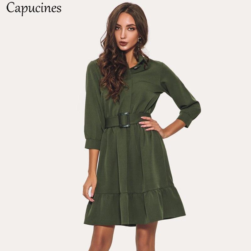 Novo chegou babados bainha cinto vestido feminino outono três quartos mangas turn-down colarinho casual sólido mini vestidos 3 cores