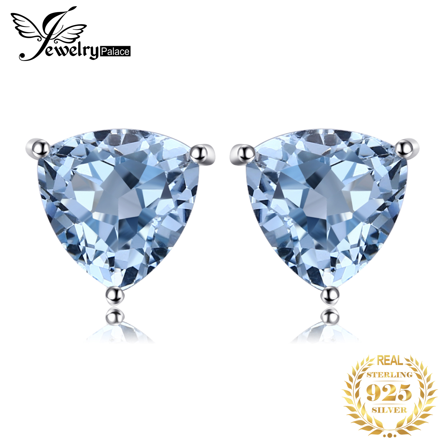 JewelryPalace 1.8ct Genuine Blue Topaz Stud Earrings 925 Sterling Silver Earrings For Women Korean Earings Fashion Jewelry 2020