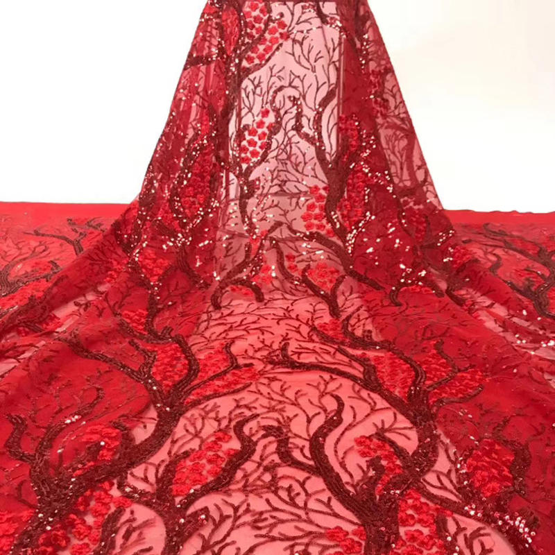 African Lace Fabric 2020 Beautiful Flower Embroidered Sequins Pattern Best Quality Tulle Lace Fabric For Wedding Evening Dress