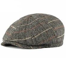 Berets-Cap Tweed-Hat Octagonal Hats Plaid Retro Winter Men's Fashion Casual for Czapka