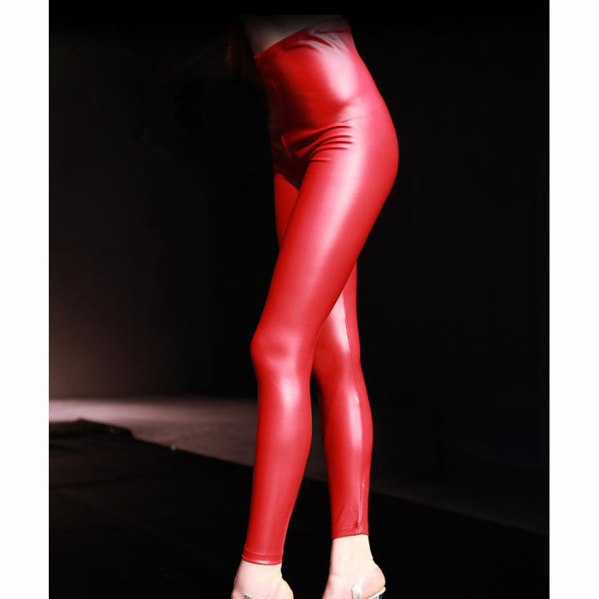 Plus Size High Waist PU Latex Leather Zipper Crotch Pants <font><b>Sexy</b></font> <font><b>Cuero</b></font> Fetish Night <font><b>Clubwear</b></font> Fitness Legging Trousers Women Capris image