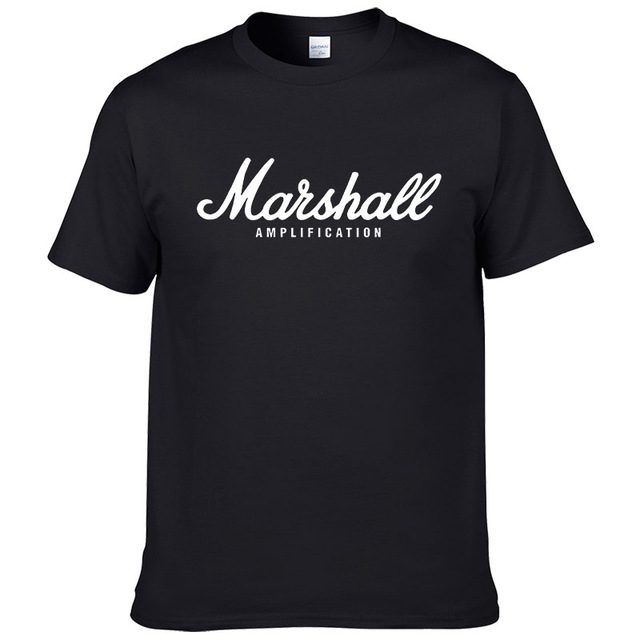 La venta caliente del verano 100% algodón Marshall camiseta de los hombres streetwear manga corta camiseta de hip hop para los