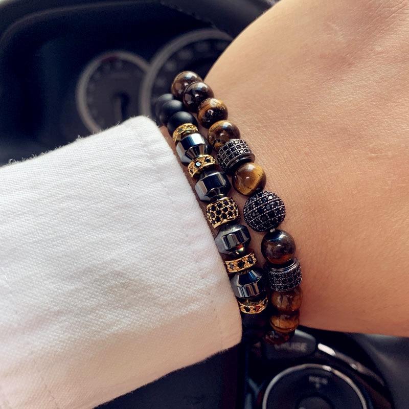 2020 Королевский геометрический браслет, мужской браслет с кубическим цирконием, натуральный камень, браслет для мужчин, модные ювелирные изделия, подарок|Браслеты с шармами|   | АлиЭкспресс