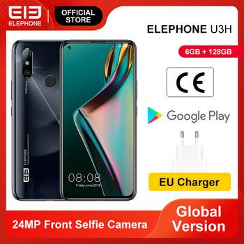 Перейти на Алиэкспресс и купить В наличии ELEPHONE U3H 6 ГБ 128 ГБ Helio P70 смартфон 6,53 дюймFHD + экран 48 МП Двойная Задняя камера 24 МП селфи разблокировка лица Android9 телефон