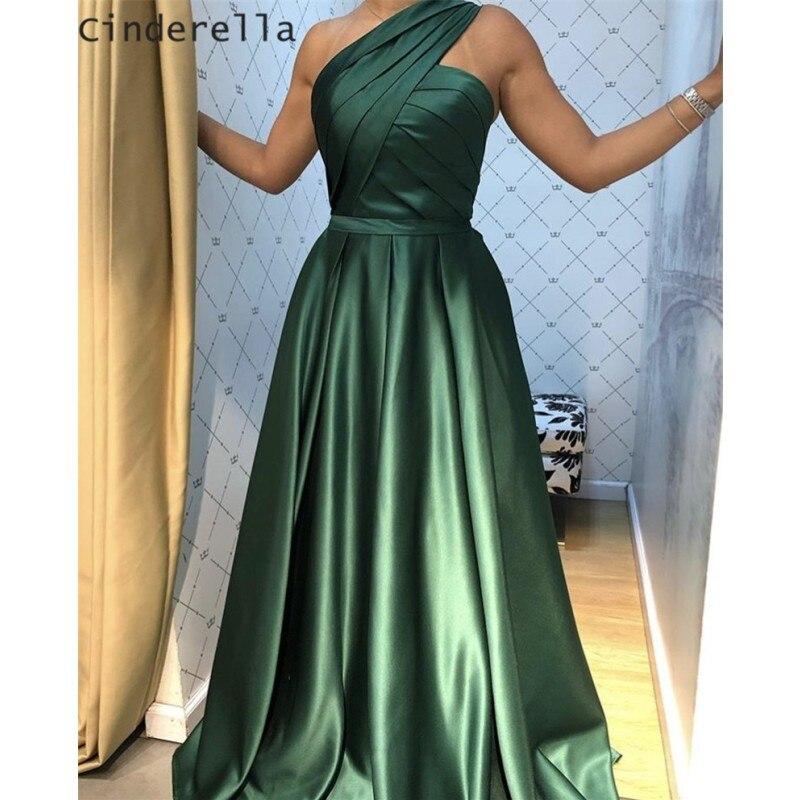 Sexy One Shoulder Sleeveless A-Line Floor Length Satin Pleated Long Prom Dresses With Side Slit vestidos de fiesta de noche
