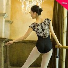 Balletto Body Adulto Nero Comodo Pratica Costume di Ballo Delle Donne di Forma Fisica Aerobica Ginnastica Body di Alta Qualità del Pannello Esterno di Balletto