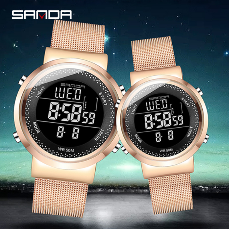 [Dropshipping] Couple Watch SANDA 383 Digital Women Men Watches 50m Waterproof Couple Watches For Lovers With Metal Boxes Cards