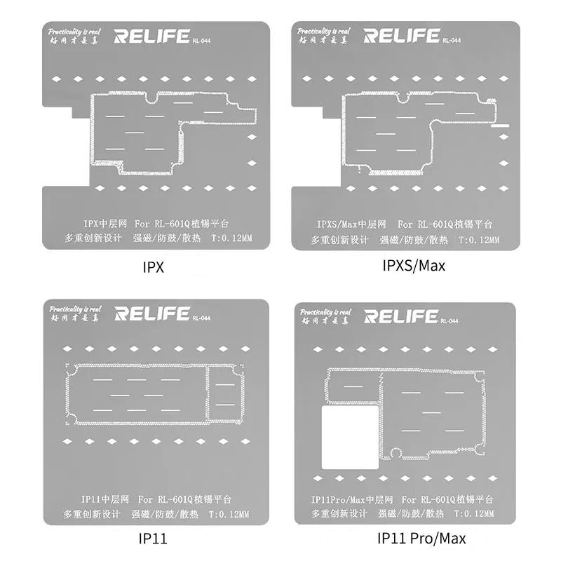 Tools : RELIFE 6 in 1 BGA Reballing Stencil Kit for iPhone X XS XS MAX 11 11Pro 11Pro MAX Motherboard Middle Frame Tin Planting Fixture