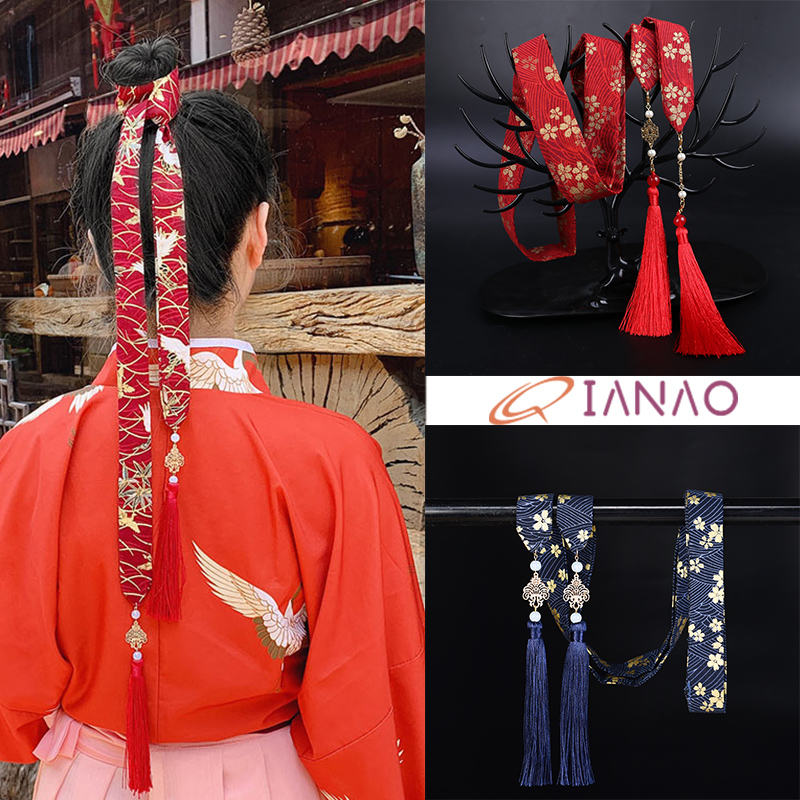 QIANAO Traditional Chinese Hair Accessories Hanfu Hair Band Embroidery Tassel Ribbon Hair Ribbons China Style Headdress Headwear
