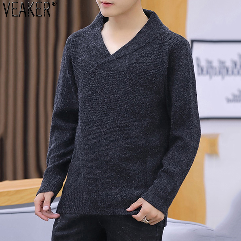 2019 New Men's Slim Fit V Neck Sweaters Pullover Solid Color Turn Down Collar Sweaters Male Autumn Winter Knitwear Tops M-3XL