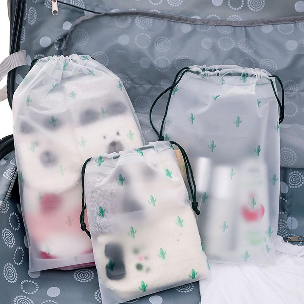 Transparent Matte EVA Waterproof Cactus Pattern Travel Storage Bag Drawstring Bag Buckle Clothing Pocket Dust-proof #40