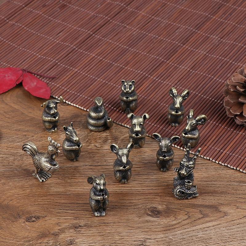 Mini Brass Chinese Zodiac Animal Statue Decoration Ornament Sculpture Desk Decor