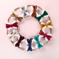 100pcs/lot Cute Bow Headband For Girls Lace flower Hair Bow Elastic Nylon Hairband Kids lovely headwear Hair Accessories