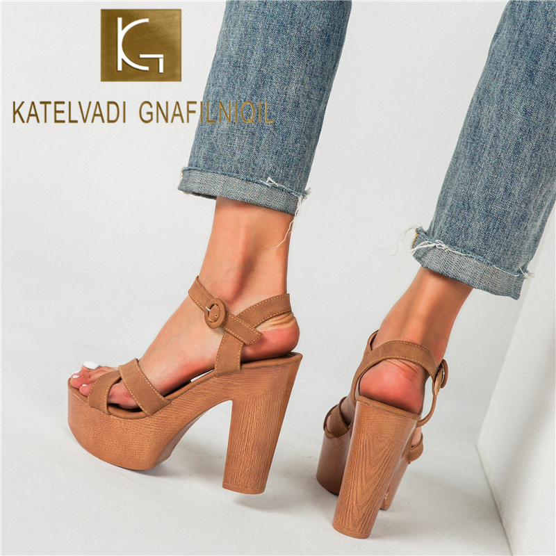 KATELVADI Women Platform Sandals 12CM High Heels Platform Sandals Summer Women Shoes Gladiator Sandals YW014