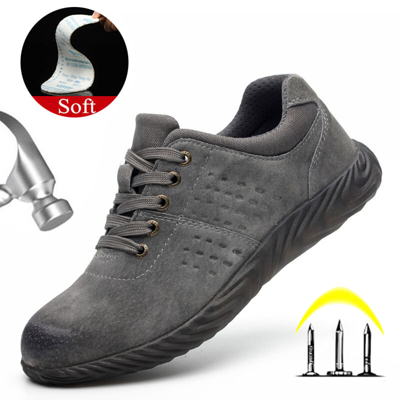 Yuxiang Winter Shoes Men Safety Shoes Anti Smashing Puncture-Proof Work Leather Boots Men Working Boots Lightweight Footwear
