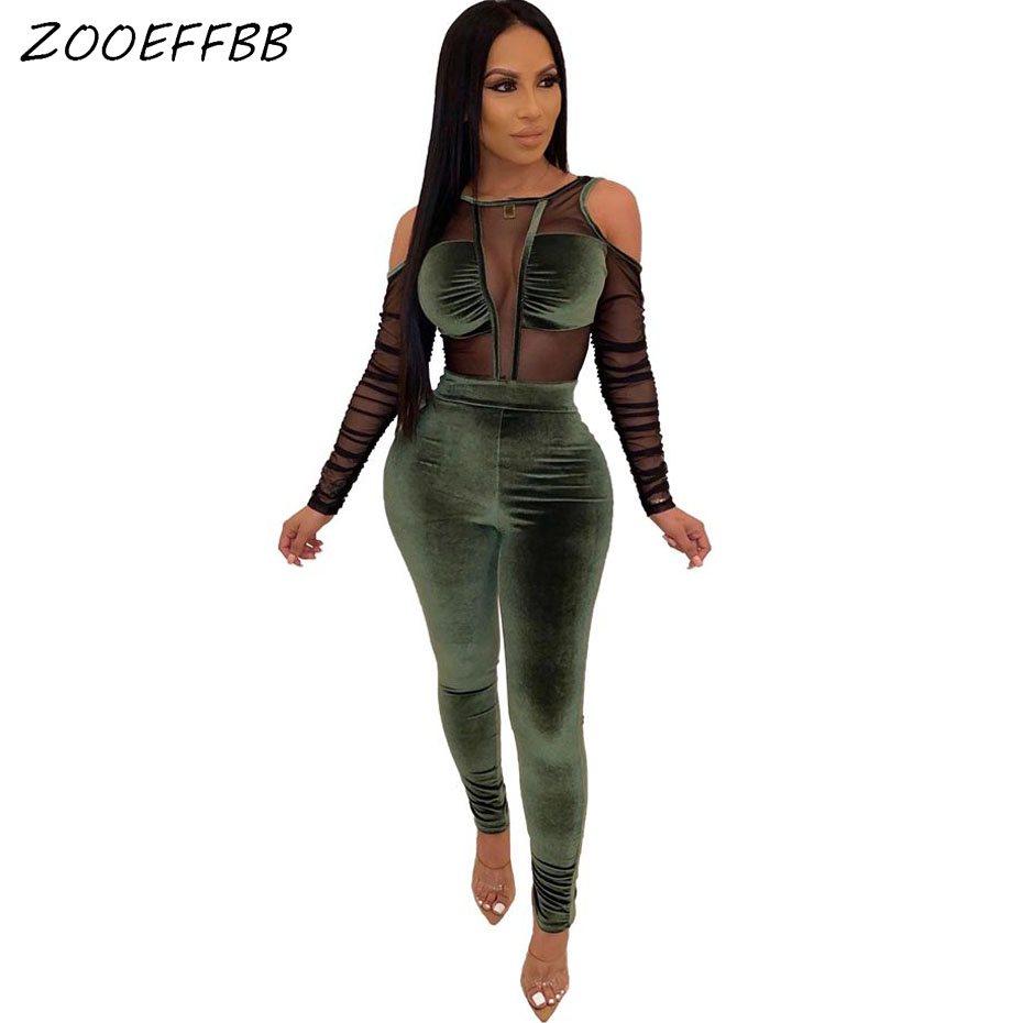 ZOOEFFBB Sexy Velvet Bodycon Jumpsuit Women Fashion Nova Mesh Sheer Cold Shoulder Long Sleeve One Piece Club Outfits Rompers