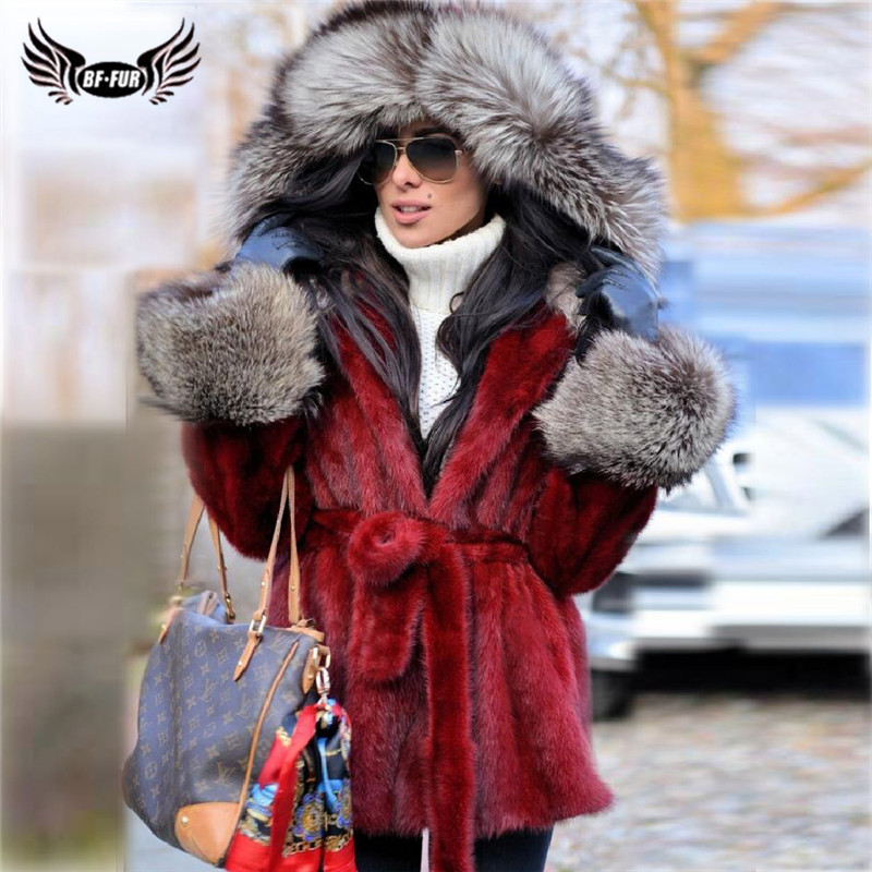 Fashion Red Real Mink Fur Jacket With Sliver Fox Fur Trim Of Hood Natural Full Pelt Genuine Mink Fur Coat With Belt Luxury Coats