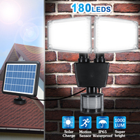 1000LM 180 LED Two Head Solar Lamps PIR Motion Sensor Activated Waterproof Outdoor Flood Light for Entryways Patio Yard Gardren