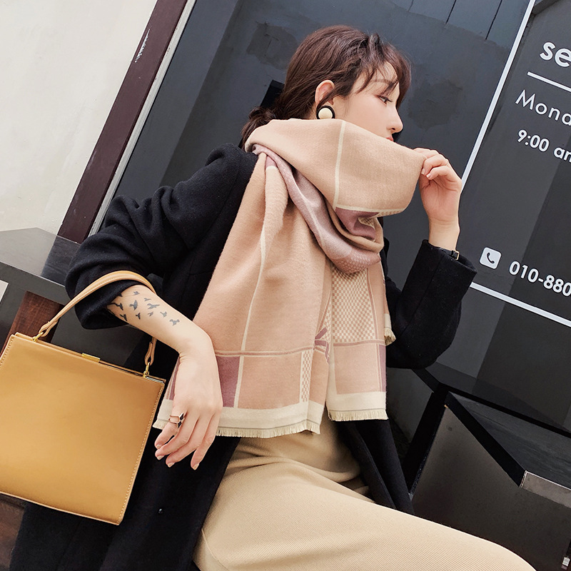 2019 Women Cashmere Scarves Lady Winter Hijabs Warm Soft Pashmina Shawls Wraps Pink Black Female Wool Long Scarf Scarves Wraps