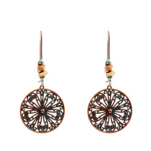 The New European and American Style Popular Round Openwork Alloy Earrings Womens Red Long Paragraph Accessories