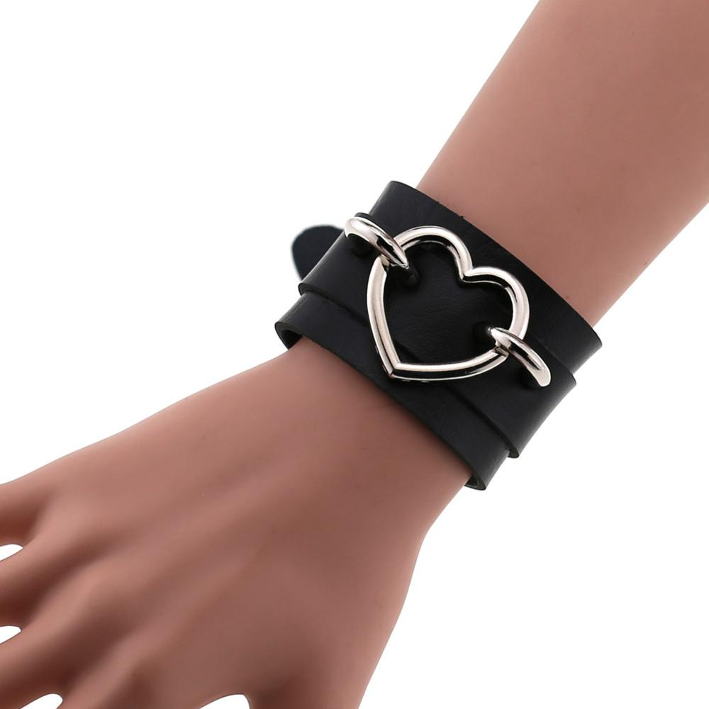 Heart Bracelet Black Leather Wristband Cuff goth gothic punk armbands Fashion bracelets women men emo metal cosplay jewelry