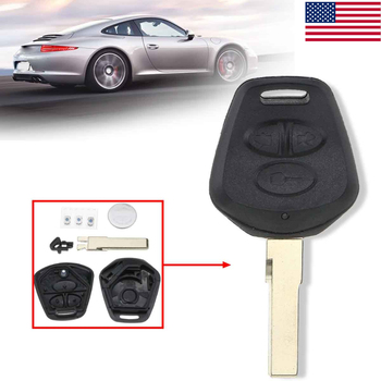 3 Buttons Car Remote Fob Key Shell Case with Battery For Porsche 911 996 Boxster S 986 Black Replacement Key Shell Cover image