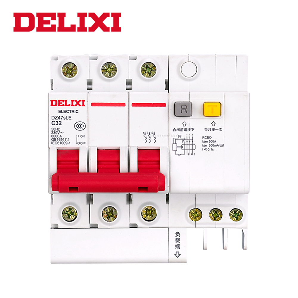 DELIXI RCBO DZ47sLE C type breaker 3P 10A 16A 25A 32A 40A 63A Residual current Circuit breaker