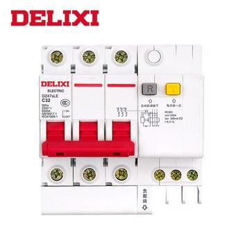 DELIXI Residual current Circuit breaker DZ47sLE C type RCBO breaker 3P 10A 16A 25A 32A 40A 63A Circuit breaker