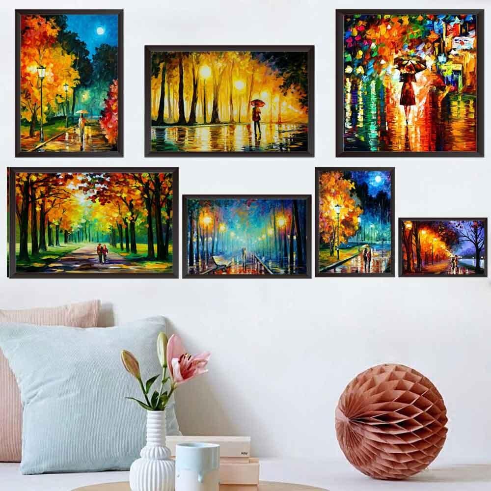 Пейзаж, масляная живопись, дождсветильник, уличный пейзаж, для влюбленных, искусство, холст, живопись, гостиная, коридор, офис, украшение для ...