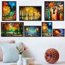 Paisagem pintura a óleo chuva luz rua paisagem amantes arte pintura da lona sala de estar corredor escritório decoração casa mural